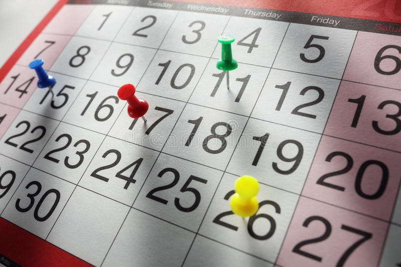 Data di appuntamento del calendario fotografie stock