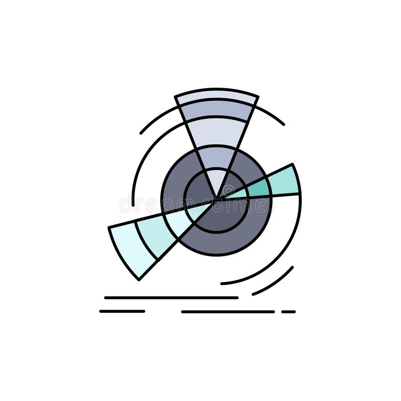Data, diagram, performance, point, reference Flat Color Icon Vector royalty free illustration