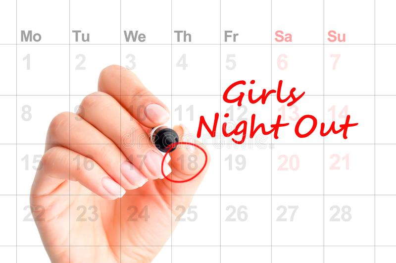 Data dla dziewczyny nocy Out †'przypomnienie na agendzie royalty ilustracja