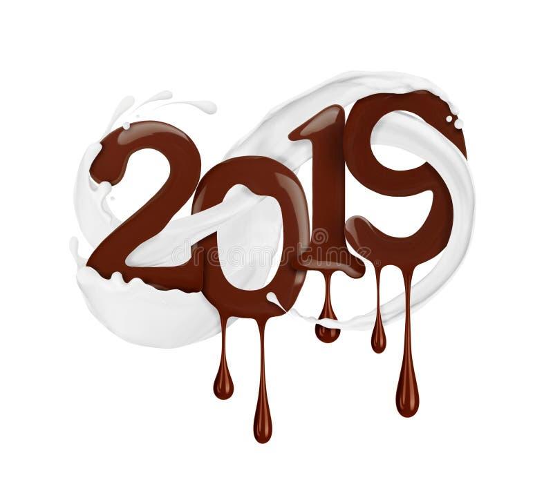 Data do ano novo 2019 anos tirada pelo chocolate líquido ilustração do vetor