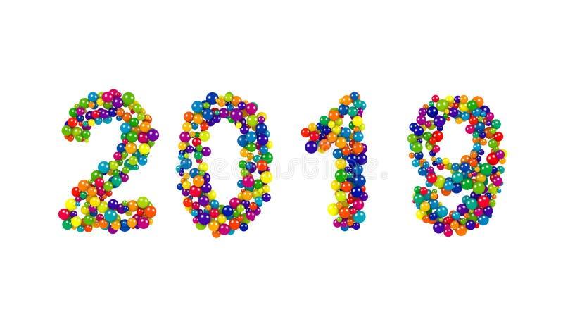 Data do ano 2019 novo em um teste padrão colorido da bola ilustração stock