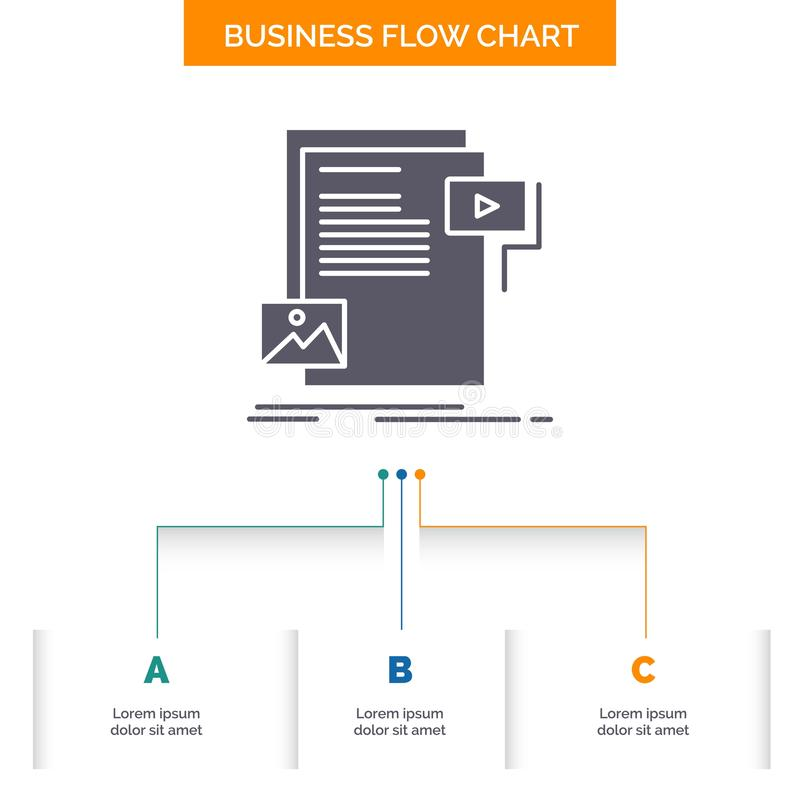 data, document, file, media, website Business Flow Chart Design with 3 Steps. Glyph Icon For Presentation Background Template stock illustration