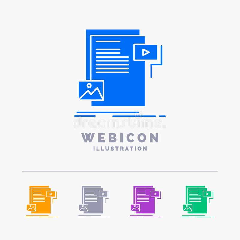 Data, document, file, media, website 5 Color Glyph Web Icon Template isolated on white. Vector illustration. Vector EPS10 Abstract Template background vector illustration