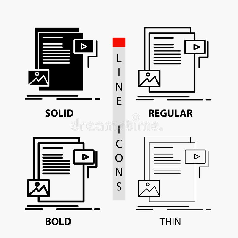 Data, document, file, media, website Icon in Thin, Regular, Bold Line and Glyph Style. Vector illustration. Vector EPS10 Abstract Template background royalty free illustration