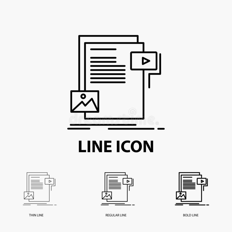 Data, document, file, media, website Icon in Thin, Regular and Bold Line Style. Vector illustration. Vector EPS10 Abstract Template background stock illustration