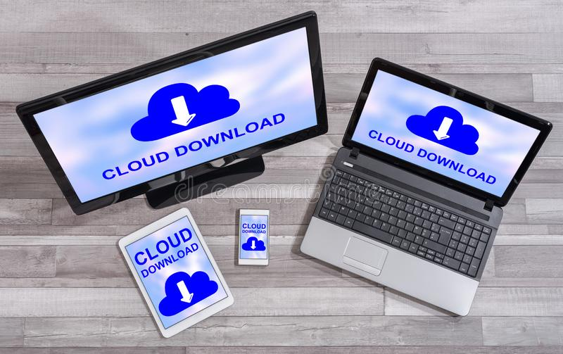 Data download concept on different devices. Data download concept shown on different information technology devices royalty free stock photo