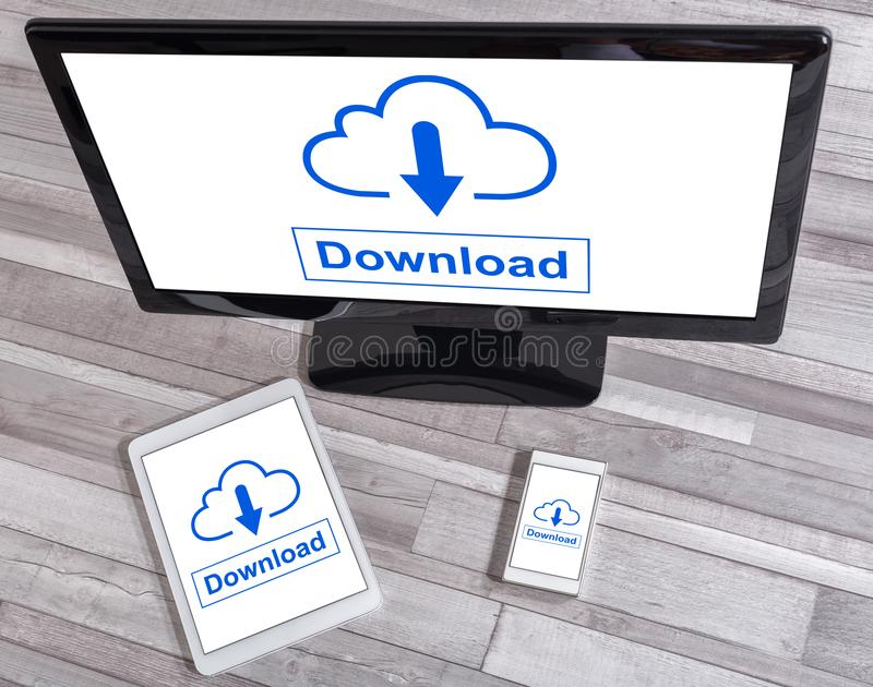 Data download concept on different devices. Data download concept shown on different information technology devices royalty free stock images