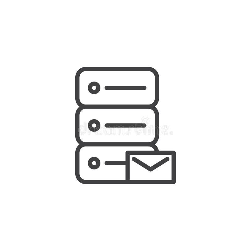 Data email storage line icon stock illustration