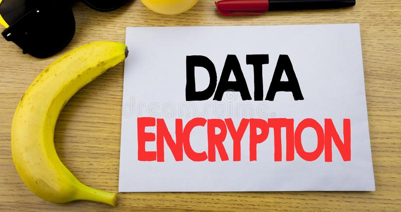 Data Encryption. Business concept for Information Security written on sticky note empty paper, wooden background with copy space,. Data Encryption. Business stock image