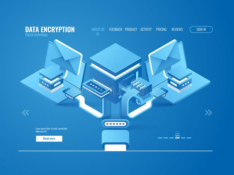 Data encryption process concept, data factory, automated sending email and messages. Data protection, cloud storage isometric vector stock illustration