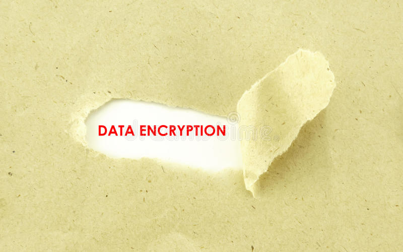 DATA ENCRYPTION. Text DATA ENCRYPTION appearing behind torn light brown envelope royalty free stock images