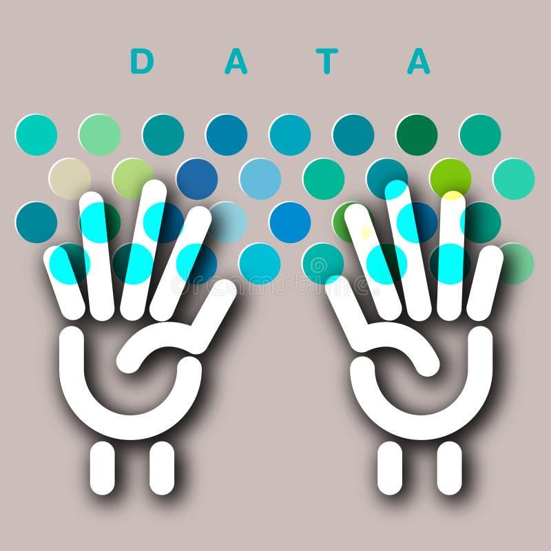 Data entry keyboard concept. For Print or Web vector illustration