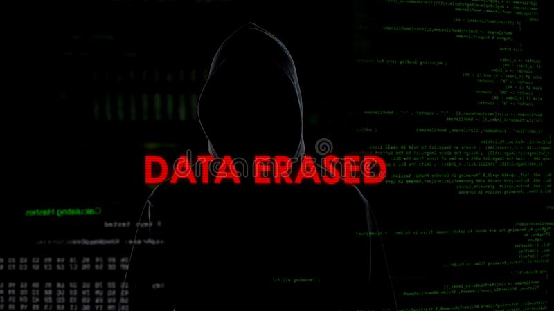 Data erased, unsuccessful attempt to hack server, criminal on codes background. Stock photo royalty free stock photography