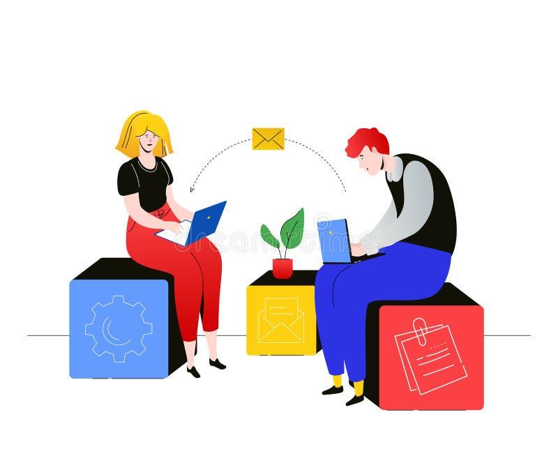 Data exchange - flat design style colorful illustration stock illustration