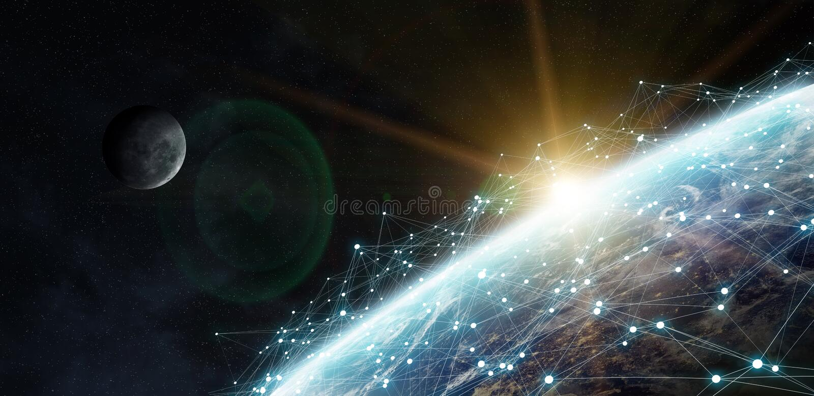 Data exchange and global network over the world 3D rendering royalty free illustration