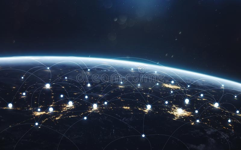 Data exchange and global network over the world royalty free stock photo