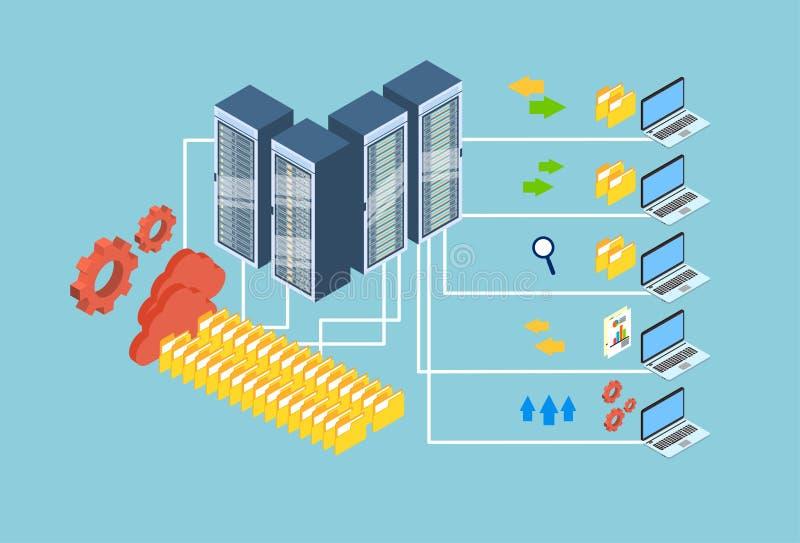 Data Exchange Laptop Computer Database Cloud Storage 3d Isometric Design royalty free illustration