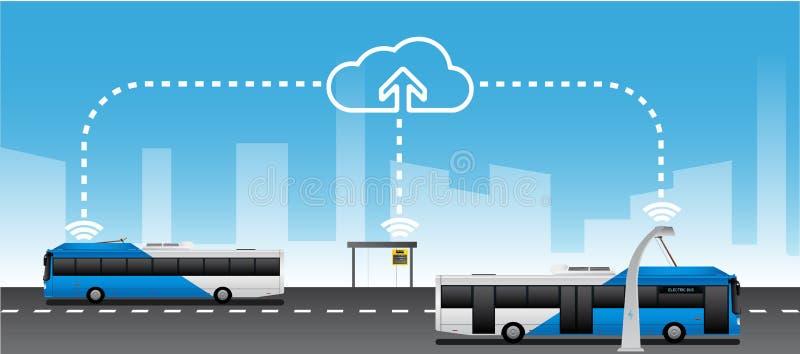 Data exchange between public transport vector illustration