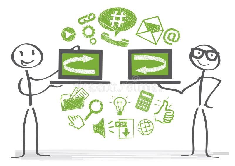 Data exchange. Two stick figures exchange data stock illustration