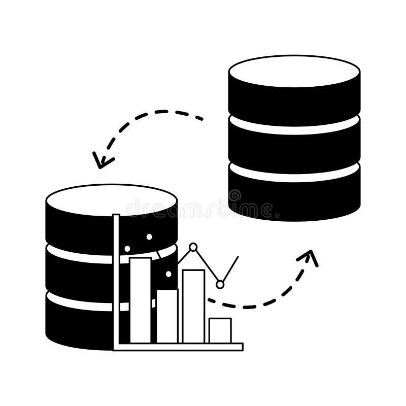 Data för överföring för graf för databasmittstatistik stock illustrationer