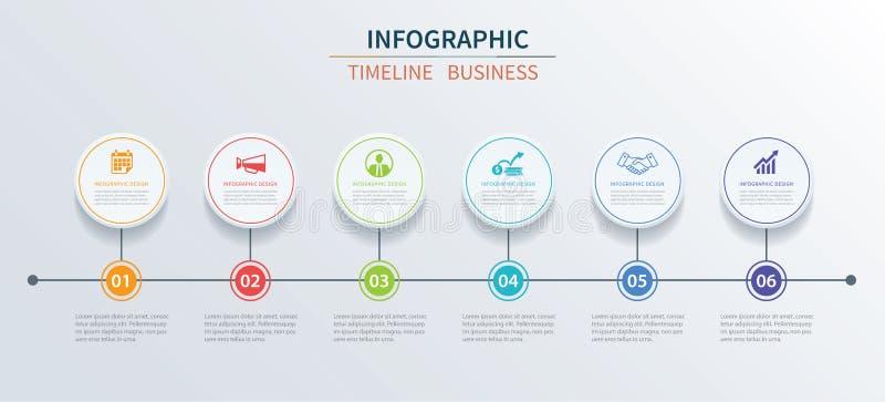 Data för affärsinfographicsmall 6 med cirkeln kan användas royaltyfri illustrationer