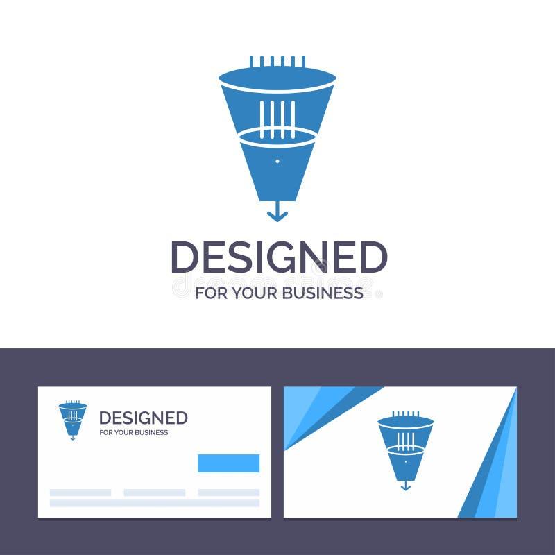 Data för idérik mall för affärskort och logo, filter som filtrerar, filtrering, trattvektorillustration royaltyfri illustrationer