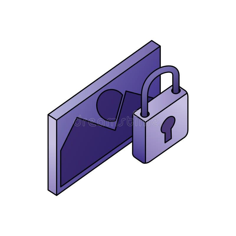Data f?r fotobilds?kerhet knyter kontakt isometriskt vektor illustrationer