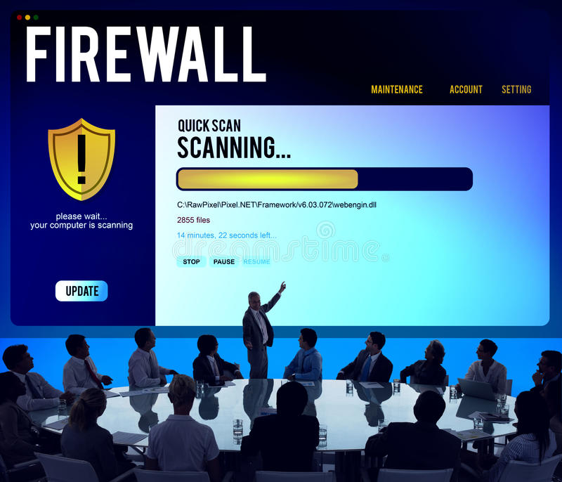 Data File Protection Firewall Malware Removal Concept. Business Data File Protection Firewall Malware Removal Concept stock images