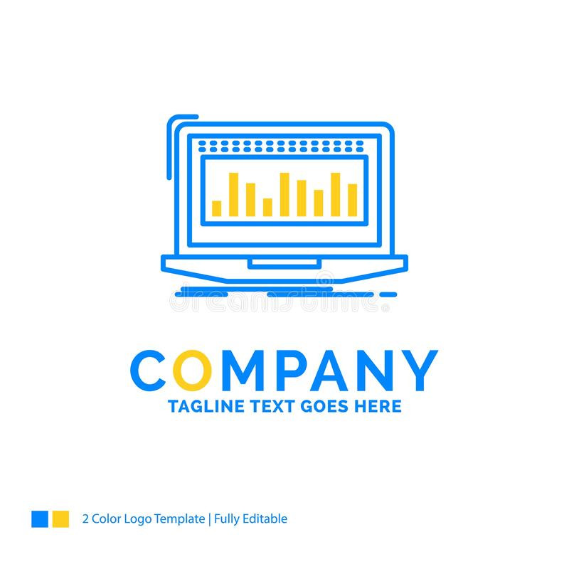 Data, financial, index, monitoring, stock Blue Yellow Business L. Ogo template. Creative Design Template Place for Tagline royalty free illustration