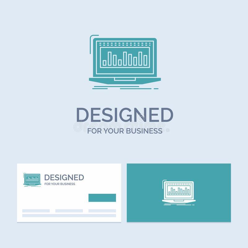 Data, financial, index, monitoring, stock Business Logo Glyph Icon Symbol for your business. Turquoise Business Cards with Brand. Logo template.. Vector EPS10 stock illustration