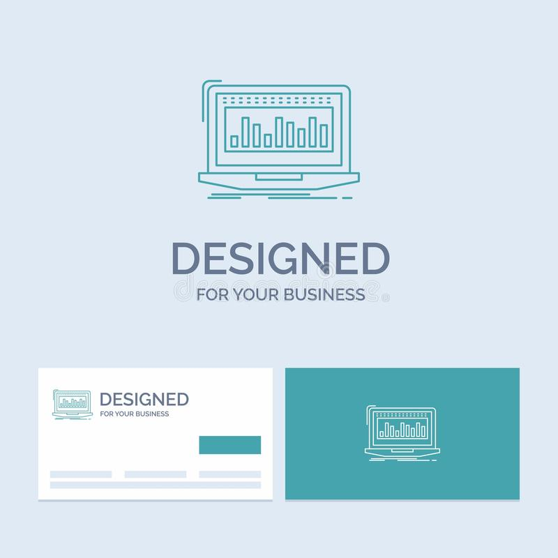 Data, financial, index, monitoring, stock Business Logo Line Icon Symbol for your business. Turquoise Business Cards with Brand. Logo template. Vector EPS10 vector illustration