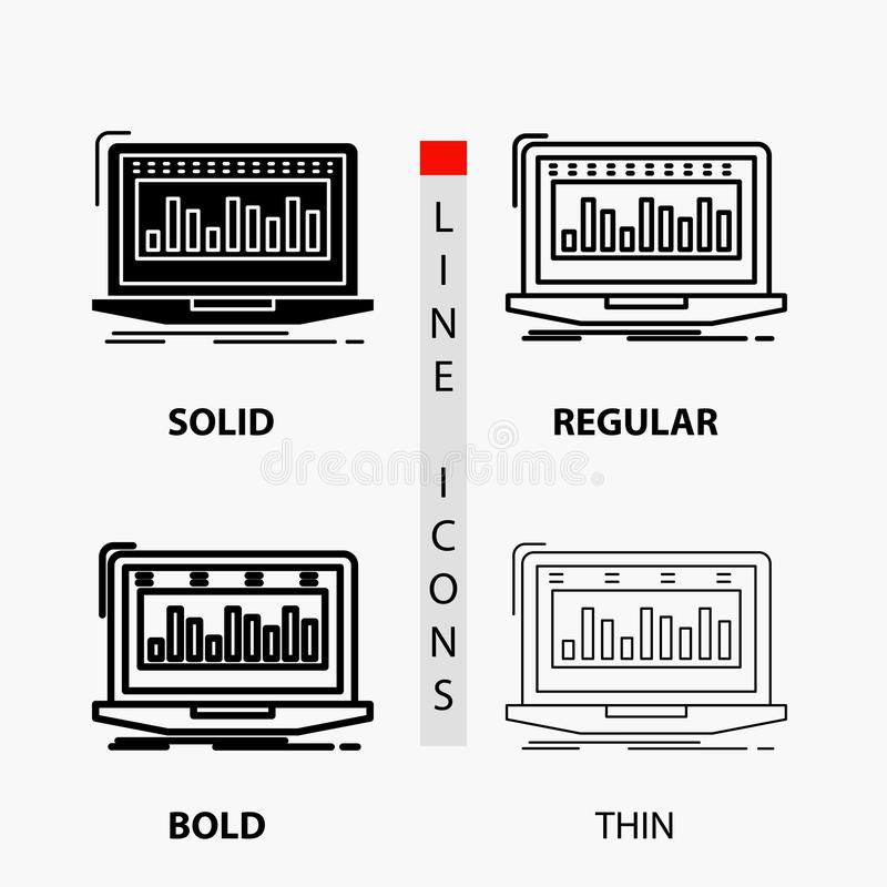 Data, financial, index, monitoring, stock Icon in Thin, Regular, Bold Line and Glyph Style. Vector illustration royalty free illustration