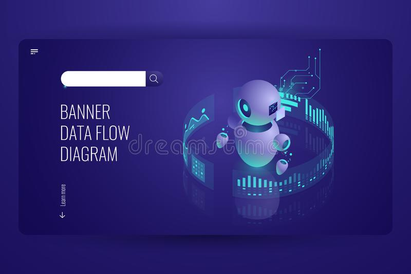Data flow diagram, business helper and support, automatic data processing, artificial intelligence ai robotics, dark. Neon vector stock illustration