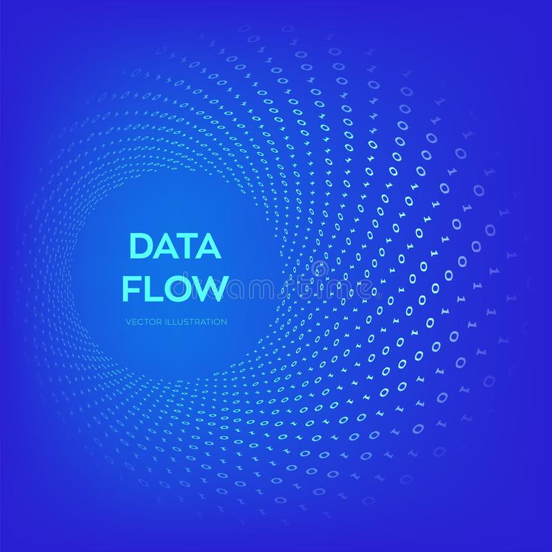 Data Flow. Digital Code. Binary data flow. Big data. Virtual tunnel warp. Coding, programming or hacking concept. Computer science. Illustration with 1 and 0 royalty free illustration