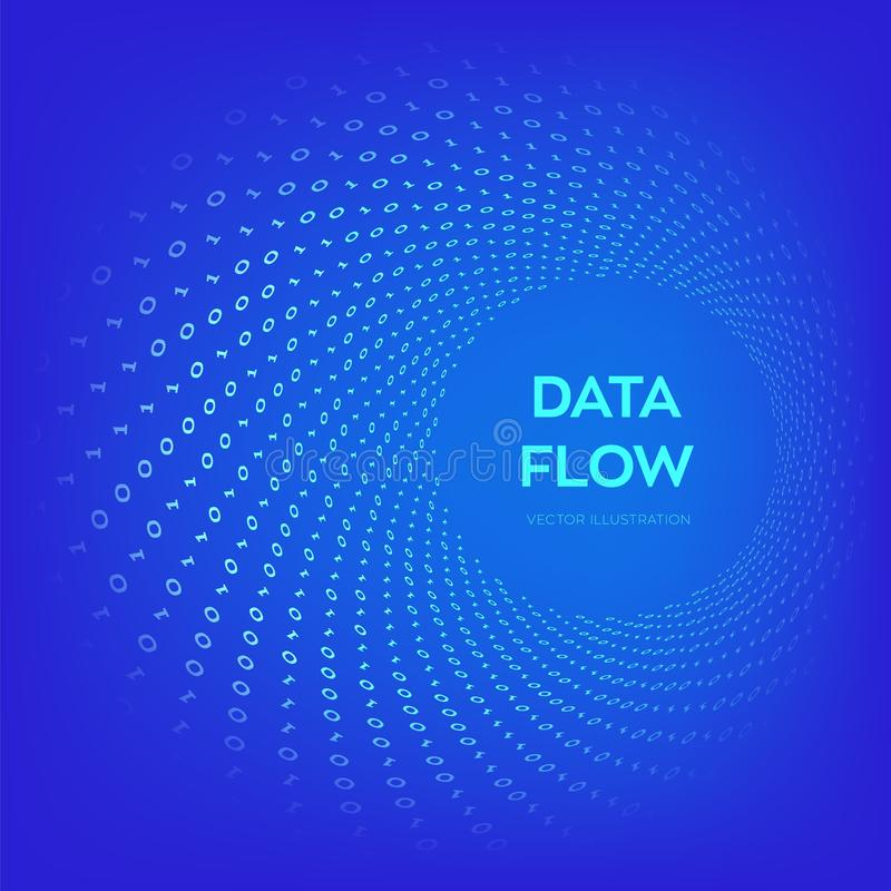 Data Flow. Digital Code. Binary data flow. Big data. Virtual tunnel warp. Coding, programming or hacking concept. Computer science. Illustration with 1 and 0 stock illustration