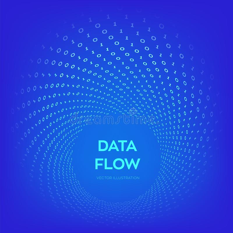 Data Flow. Digital Code. Binary data flow. Big data. Virtual tunnel warp. Coding, programming or hacking concept. Computer science illustration with 1 and 0 royalty free illustration
