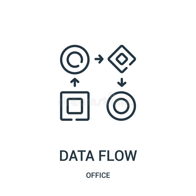 data flow icon vector from office collection. Thin line data flow outline icon vector illustration vector illustration