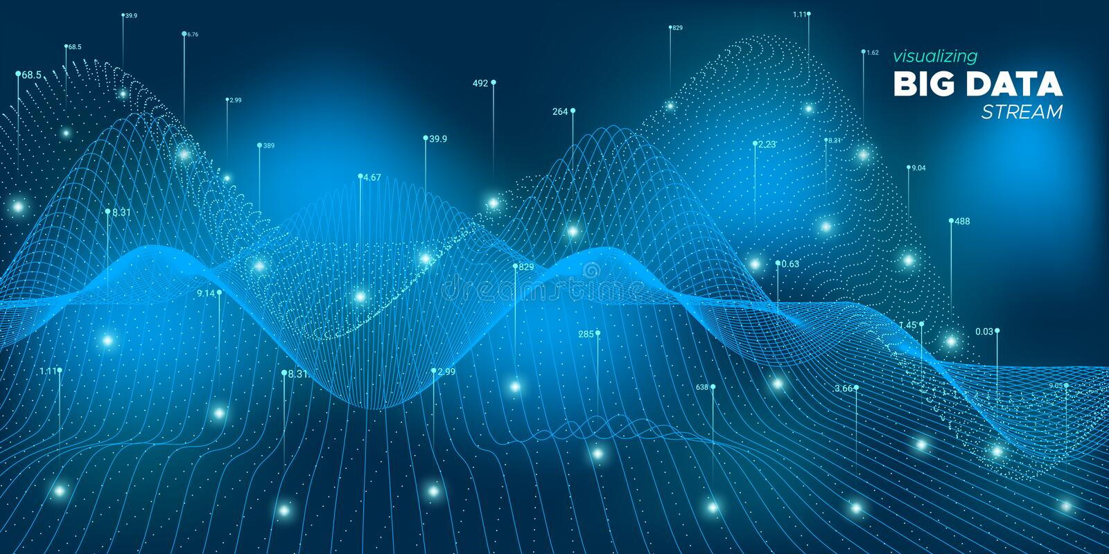 Data Flow. Neon Financial Background. Future. Concept. Abstract Big Data. Mesh Virtual Effect. Technology Background. Fluid Science Fractal. Vector Big Data stock illustration