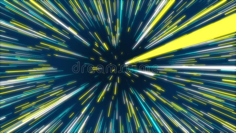 Blue and yellow abstract tunnel radial lines effect background vector illustration
