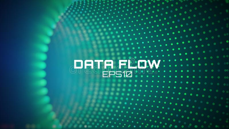 Data flow tunnel. Geometric round background. Coding development abstact royalty free illustration