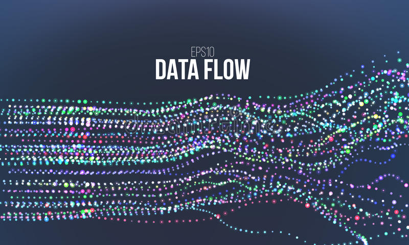 Data flow vector illustration. Digital information noise stream. Blockchain structure calculation royalty free illustration