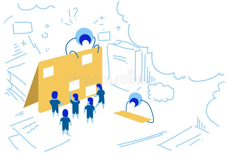 Data folder business planning corporate time management people group brainstorming strategy plan concept sketch doodle vector illustration