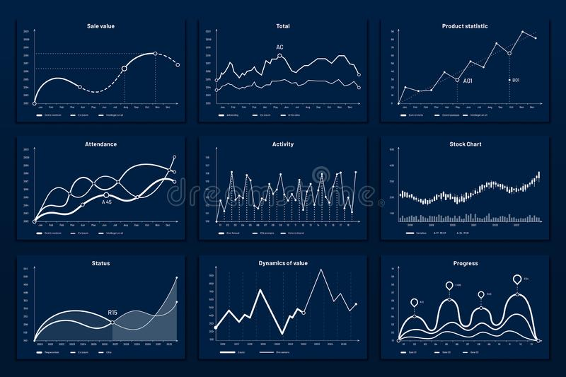 Data graphic charts. Maths coordinates graph, growth chart graphics and business infographic graphs vector illustration. Data graphic charts. Maths coordinates stock illustration
