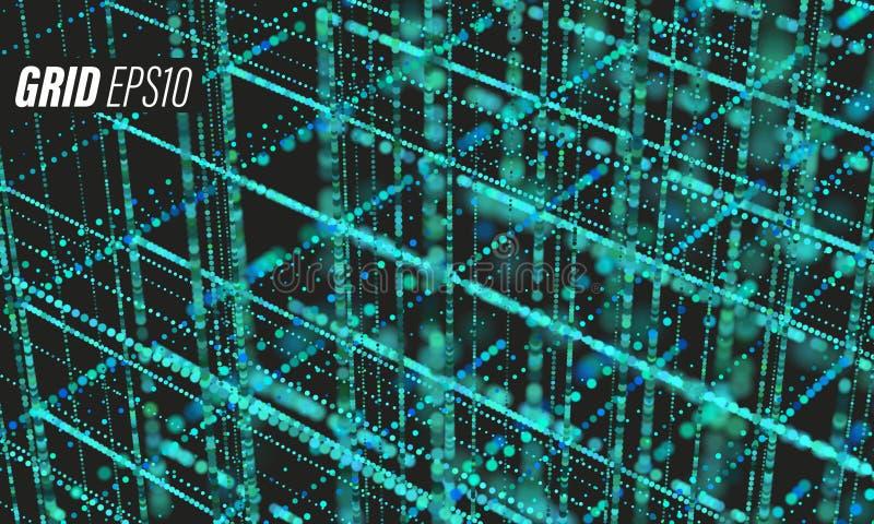 Data grid. Bigdata blueprint Cyber futurist background. Cloud information stock illustration