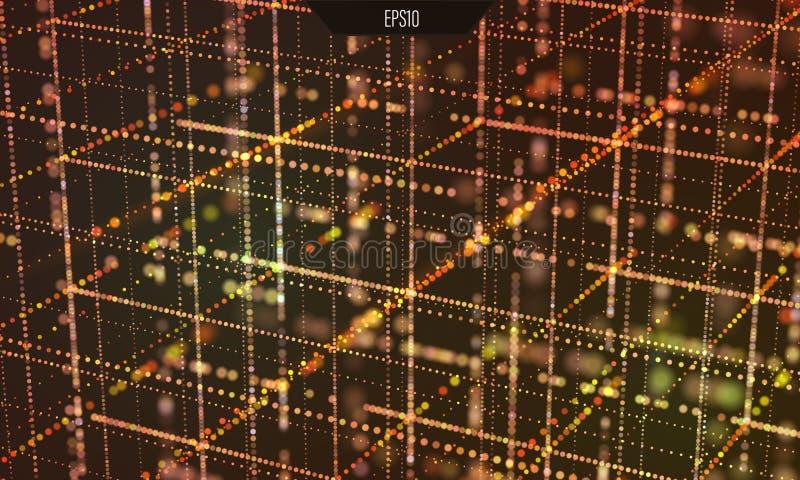 Data grid. Information technology. Cyber futurist background royalty free illustration