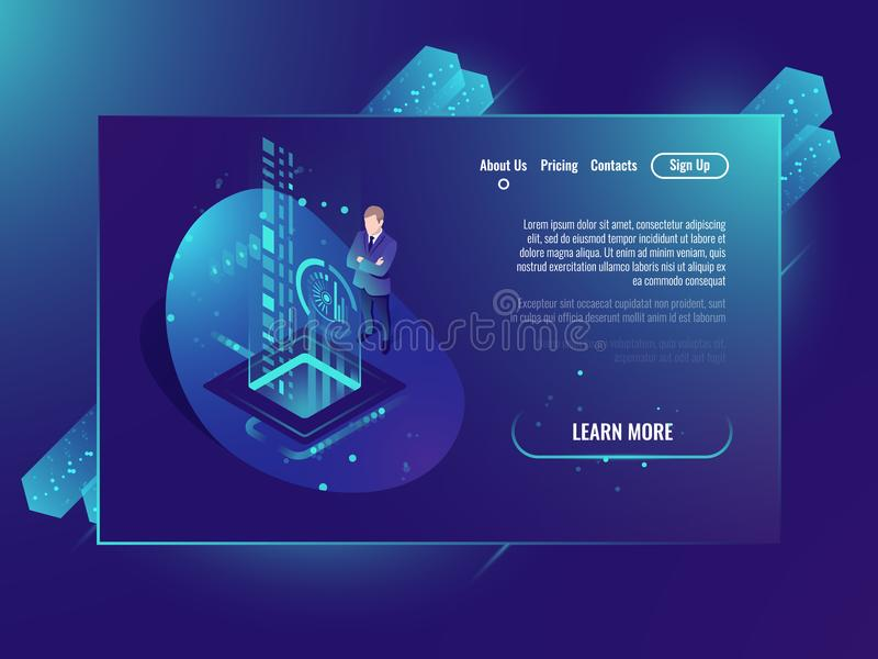 Data handling, analysis data and Investment, business success, data center isometric neon ultraviolet stock illustration