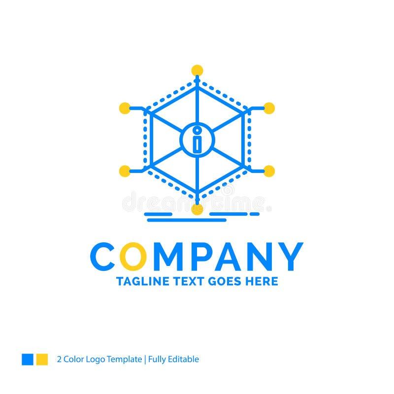 Data hjälp, information, information, blå gul affär Lo för resurser royaltyfri illustrationer