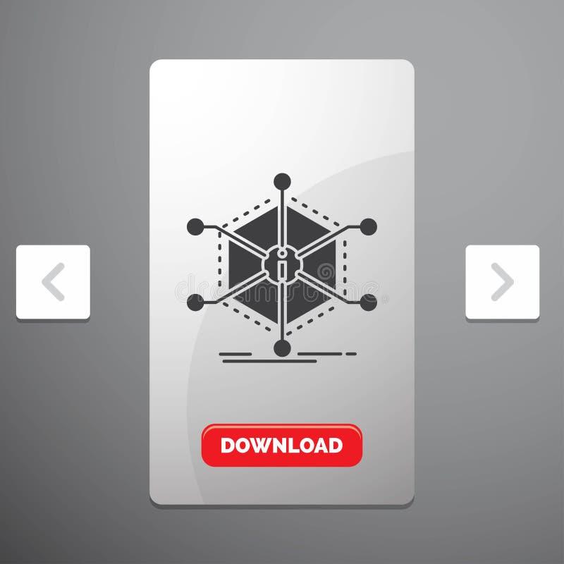 Data, hjälp, information, information, resursskårasymbol i design för Carousalpagineringsglidare & röd nedladdningknapp royaltyfri illustrationer