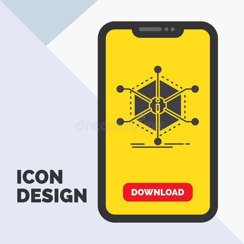 Data hjälp, information, information, resursskårasymbol i mobilen för nedladdningsida Gul bakgrund stock illustrationer