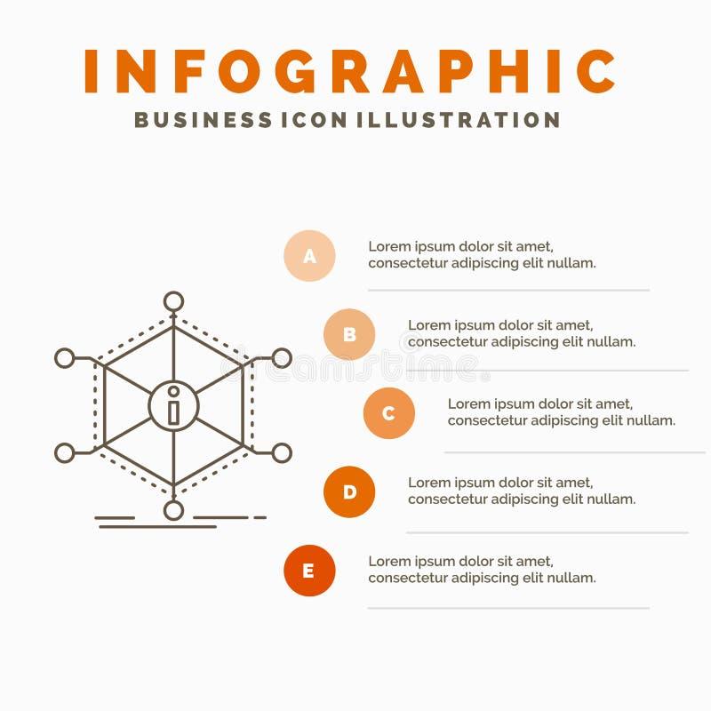 Data, hj?lp, information, information, resursInfographics mall f?r Website och presentation Linje gr? symbol med apelsinen stock illustrationer
